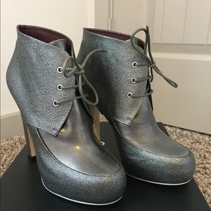 Chanel Metallic Khaki Booties
